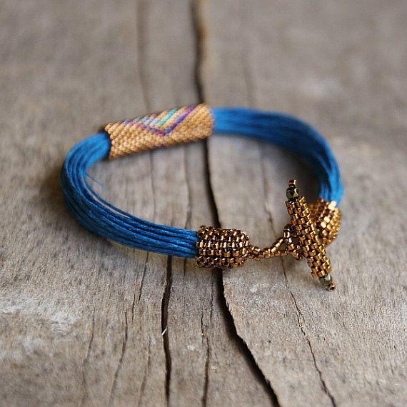 Bracelet Tribal Style africain Azur bleu profond lin coloré