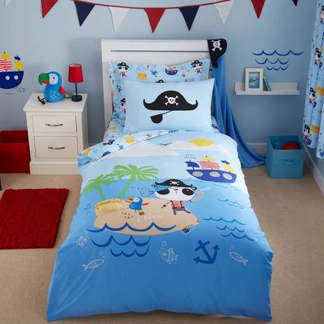 Pirate Panda Blue Bed Linen Collection | Dunelm