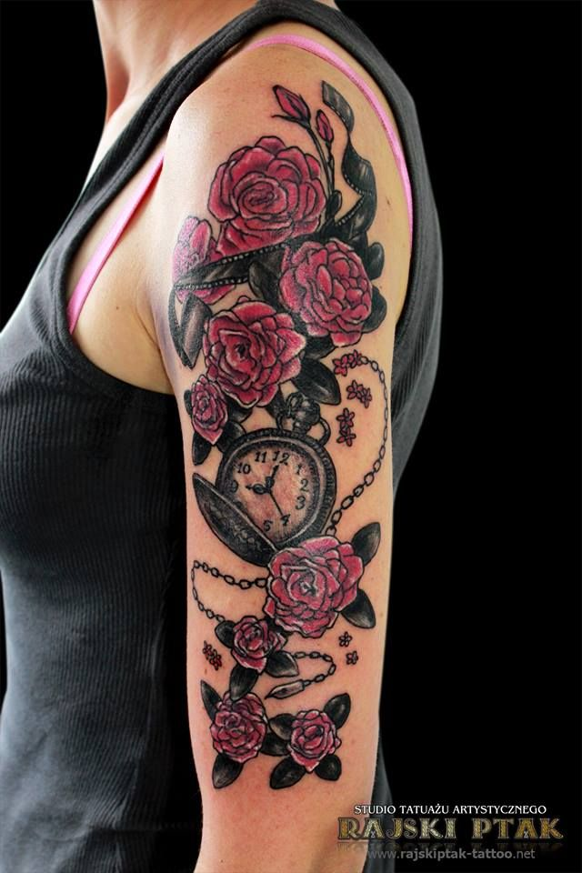 love love love my new tattoo half sleeve roses watch chain pink grey tatuajes spanish. Black Bedroom Furniture Sets. Home Design Ideas