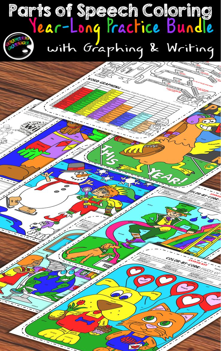 "Writing, graphing, and coloring activities to support learning of parts of speech (nouns, verbs, adjectives, adverbs, pronouns, and interjections). A ""Grammar Machine"" helps students to figure out each word's part of speech all on their own!"