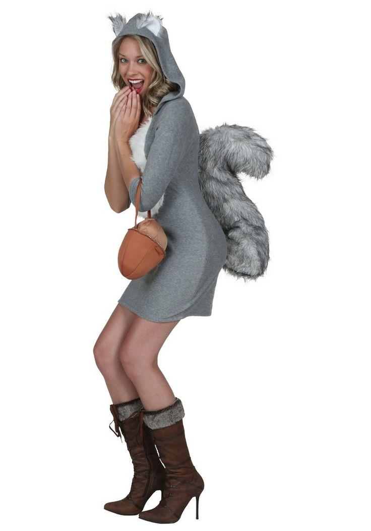 Eichhörnchen Kostüm - kurzes graues Kleid