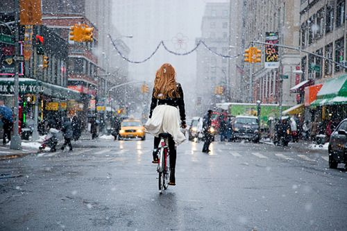 where else?: The Holidays, New York Cities, Bike Riding, Snow, The Cities, Newyork, Hair, Style Blog, Bike Style
