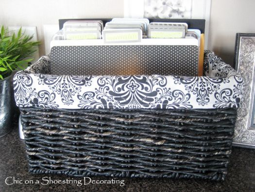 Sort paperwork on the kitchen counter using a basket and folders.  Easy to move off the counter and looks cute.: Organization, Idea, Shoestring Decorating, Organize Paper, File Folder, Kitchen Counters, Organizing Paper Clutter