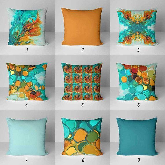 Teal Orange Throw Pillow Covers Decorative Pillows Cushion Etsy Orange Throw Pillows Green Outdoor Pillows Unique Throw Pillows