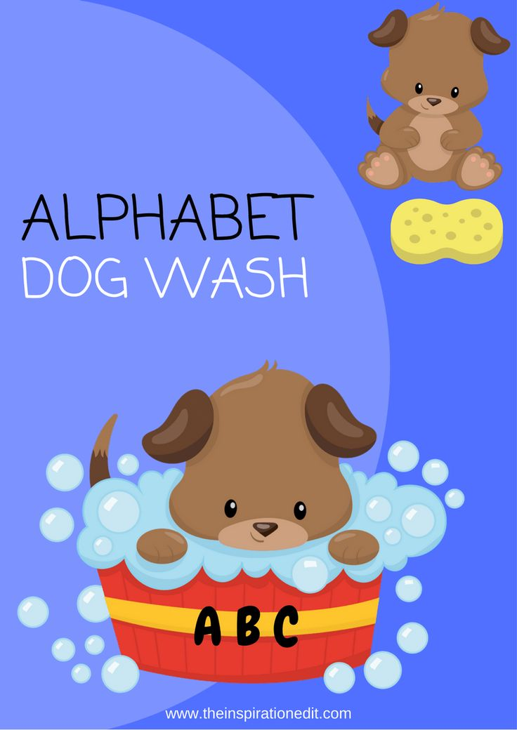 Free Phonics Pre-K Printable Alphabet Dog Wash - For kids aged 3-5 years.     Match the Dog to the corresponding sponge. Use this FREE PRINTABLE to practice the sounds and letters of the Alphabet.