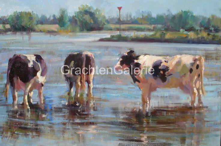 Koeien in de lek | Corry Kooy | Schilderij | Landscape | Art
