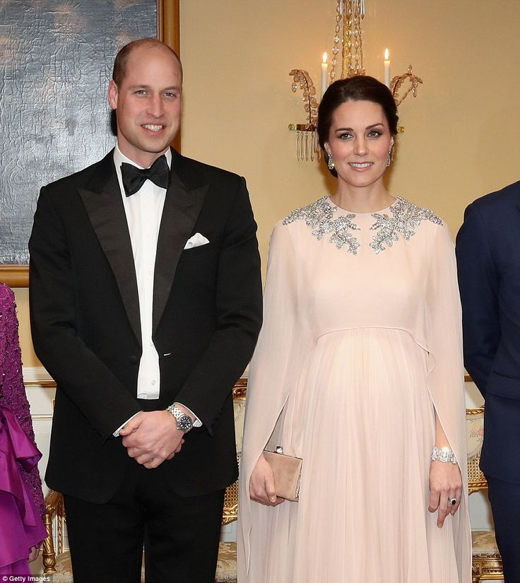 The Duke of Cambridge and wife the Duchess of Cambridge attend a dinner at the Royal Palace. Pregnant Kate accessorised with the diamond bracelet the Queen wore on her wedding day