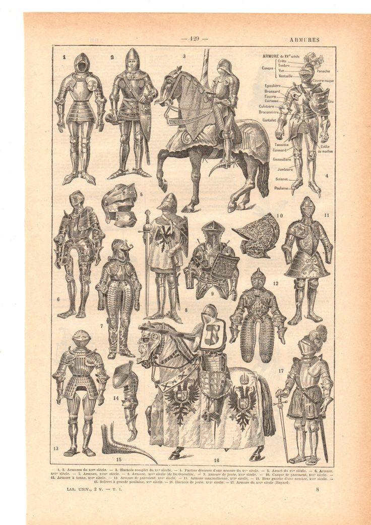 """Illustration vintage """" Armures"""" Dictionnaire Français  1930/ Digital download de la boutique SoPrettyJoliVintage sur Etsy"""