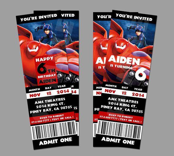 26 best Fiesta Big Hero 6 images on Pinterest Big hero 6, Baymax - movie ticket invitations printable free
