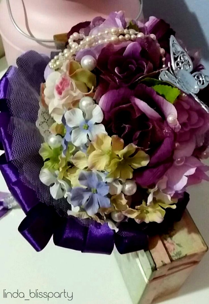 Purple Sage Hand Bouquet by linda_blissparty