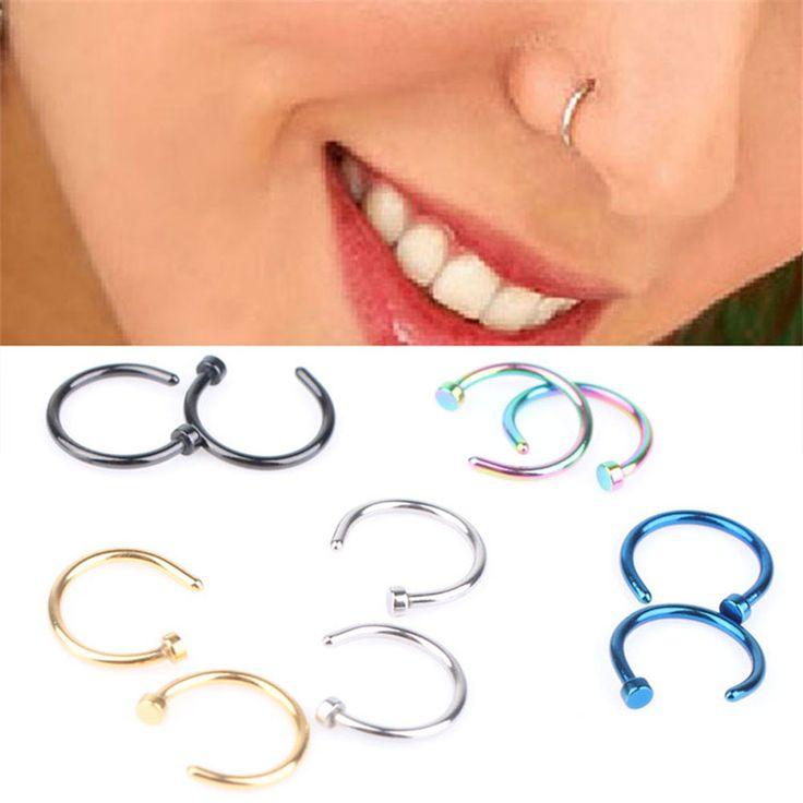 1 Para Mode-stil Medizinische Hoop Nasenringe Clip Auf Nasenring Gefälschte Piercing Schmuck Für Frauen