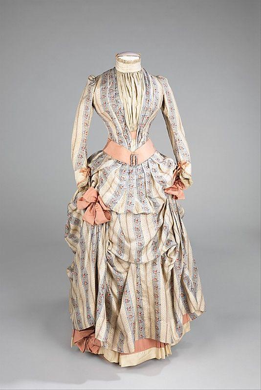 Pastel Striped Silk Dress, circa 1885