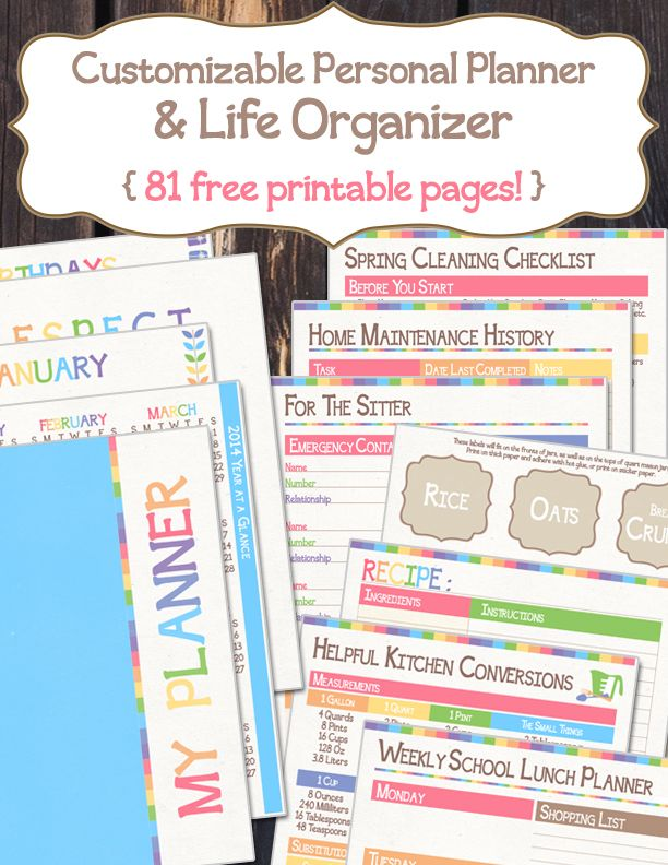 Free Customizable Personal  Life Planner Printables.  81 Free Printable Pages!