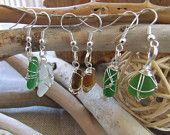 Coppie di orecchini in autentico vetro di mare.