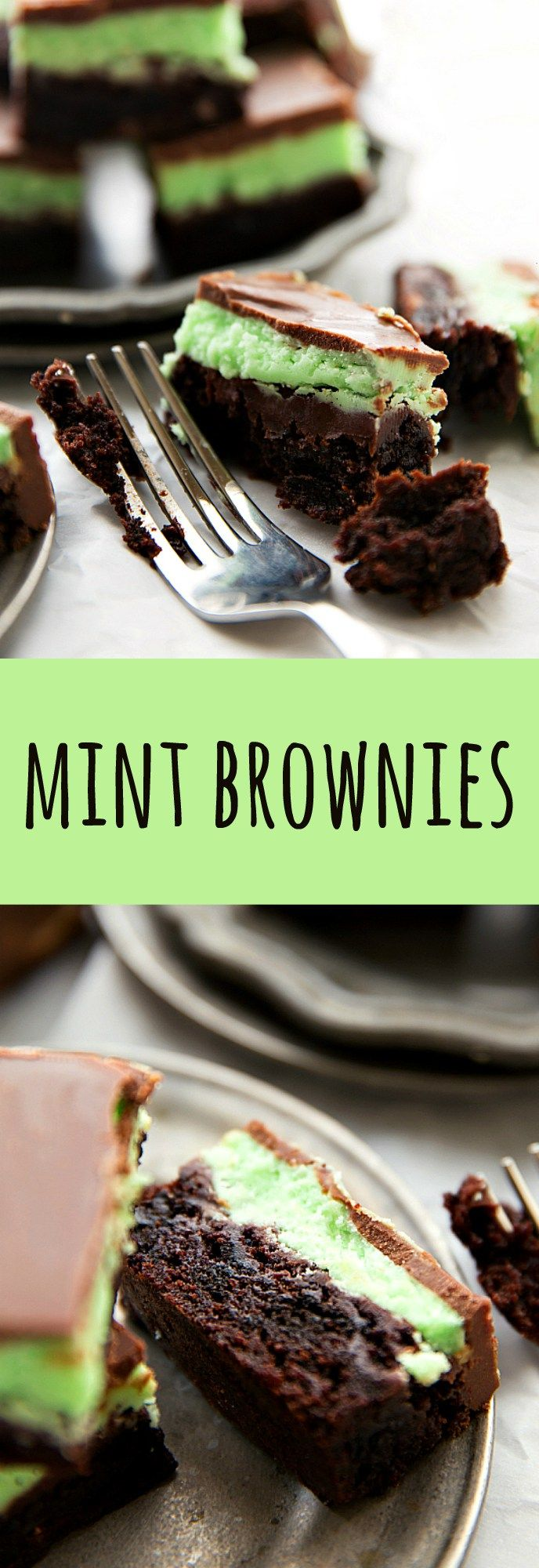 Easier (foolproof!) mint oreo brownies with a thick layer of frosting and a soft minty chocolate topping.