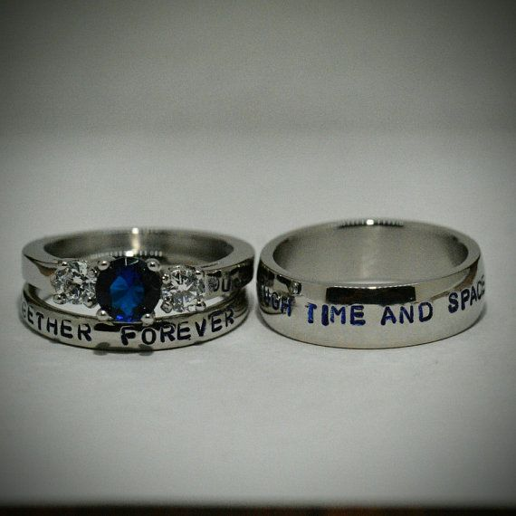 Doctor Who inspired 3 piece Wedding Set,Hand stamped Stainless Steel and CZ Sapphire Sci Fi inspired couples ring set,FREE inside engraving!