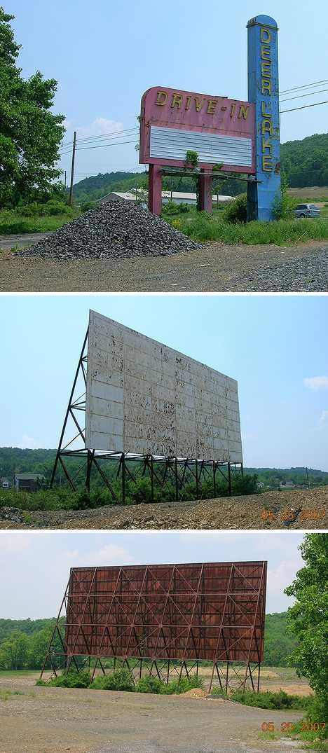 The Deer Lake Drive-In on Route 61 in Orwigsburg, Pennsylvania was fairly large as such operations go; the 600-car capacity outdoor theatre must have been buzzing on any fair-weather weekend from the late 1950s to its last show sometime in 1996. The site sat dark and abandoned until 2008 when the facility's remaining structures were demolished and scrapped (images via Carolyn)