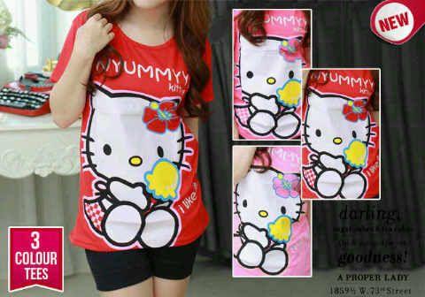 Kaos Hello Kitty Yummyy 72817, Ready Stock, Untuk pemesanan dan informasi silahkan hubungi Admin di:  HP/WhatsApp: 085259804804