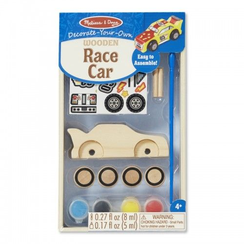 "Kids can fill their need for speed with this cool craft kit!  Includes complete supplies to design and personalise a race car, including wooden wheels and axles, paints, brush, glue, stickers and easy directions.  Put your youngsters on the ""fast track"" to building and racing fun!"