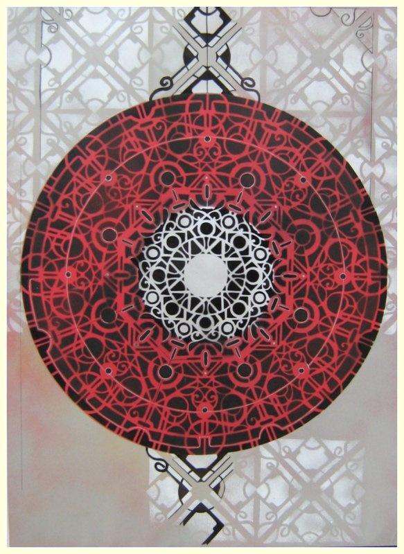 gloria recanatini  spray and enamel on canvas 70x100 cm    mandala - stencil - red