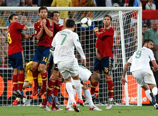 Cristiano Ronaldo no pudo contra España. Spain-Portugal, soccer