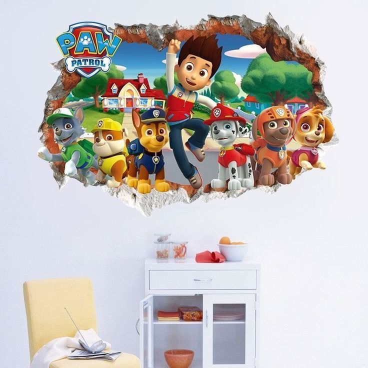 PAW PATROL SMASHED WALL STICKER - 3D BEDROOM BOYS GIRLS VINYL WALL ART DECAL #Unbranded