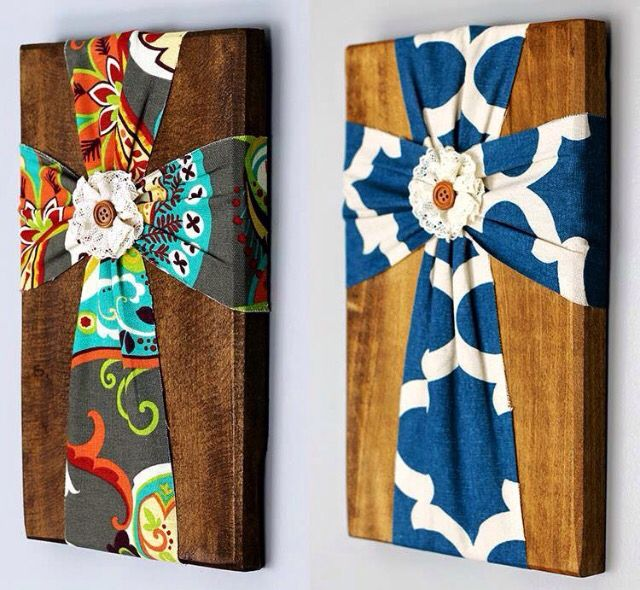Fabric Cross on Wood craft: This is so cute!                                                                                                                                                     More