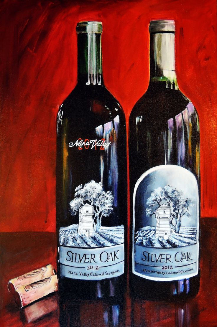 Kitchen art wine - Wine Bottle Painting Silver Oak Of Napa Valley Wine Painting Limited Edition G Print On Canvas Kitchen Art Wine Art