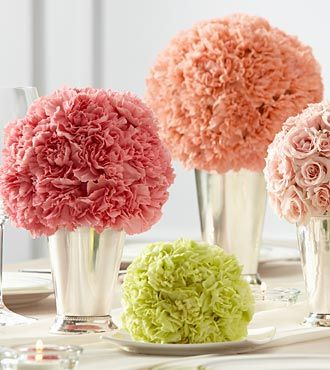 Color block pomanders ...similar to mom's bridesmaids bouquets