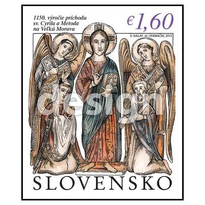 Tento rok si pripomíname 1150. Výročie príchodu sv. Cyrila a Metoda na Veľkú Moravu. Aj Slovenská pošta k tejto udalosti pripravuje v júni vydanie poštovej známky . Pozrime sa návrh tejto známky.