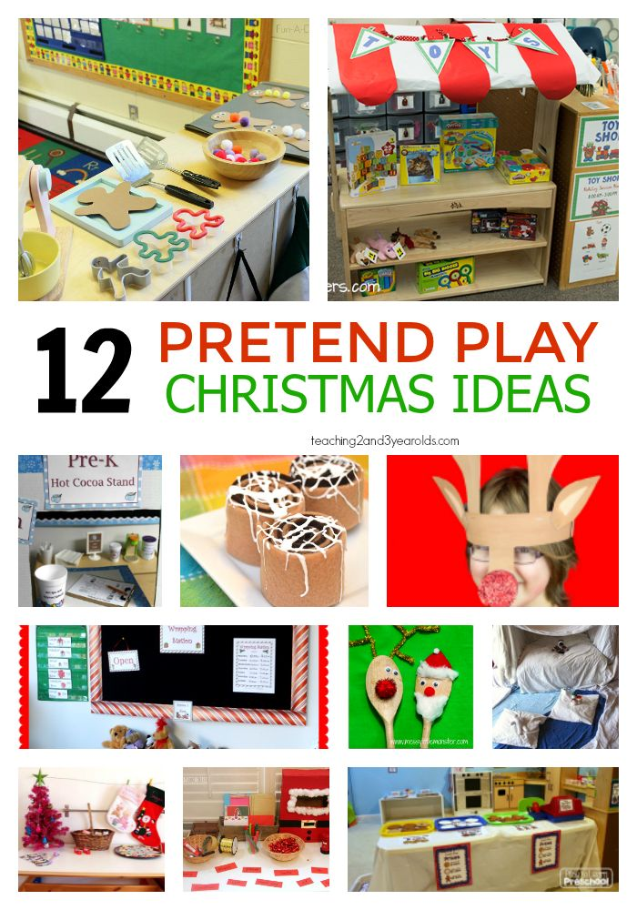12 pretend play Christmas activities for toddlers and preschoolers that are fun for the classroom dramatic play center or at home.