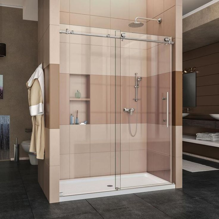 DreamLine Enigma-X 56-in to 60-in W Frameless Brushed Stainless Steel Sliding Shower Door