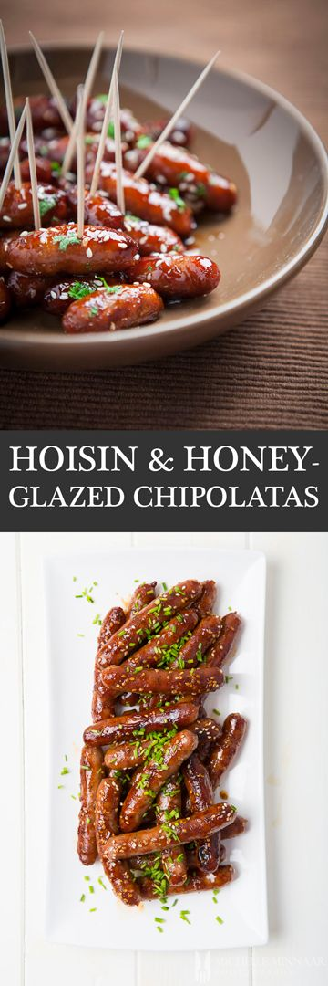 Hoisin & Honey-Glazed Chipolatas - Chipolatas slathered with a mixture of hoisin sauce and honey, sprinkled with sesame seeds. A boring meal suddenly gets transformed into something magical.