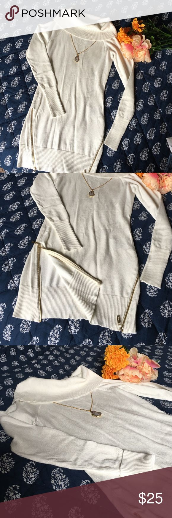 🌻Like New Soft White Guess Sweater Dress🌻 Gorgeous and flawless, this is a snug fitting sweater dress.  Cowl neck can be worn more traditionally, or can be pulled down over shoulders. 72% rayon, 28% nylon.  Light, but warm.  Absolutely wonderful staple piece. :)  Feel free to offer up! :) Guess Dresses Mini