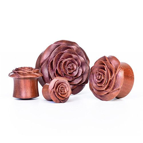 Carved Flower Wood Plug | UK Custom Plugs - Ear Gauges, Flesh Tunnels for Stretched Ears
