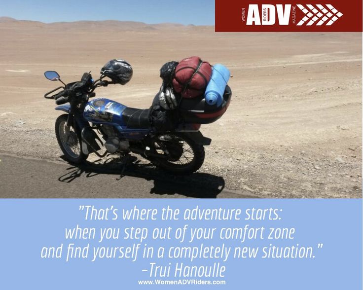 """That's where the adventure starts: when you step out of your comfort zone and find yourself in a completely new situation"" ~Trui Hanoulle #womenadvriders #daretoexplore"