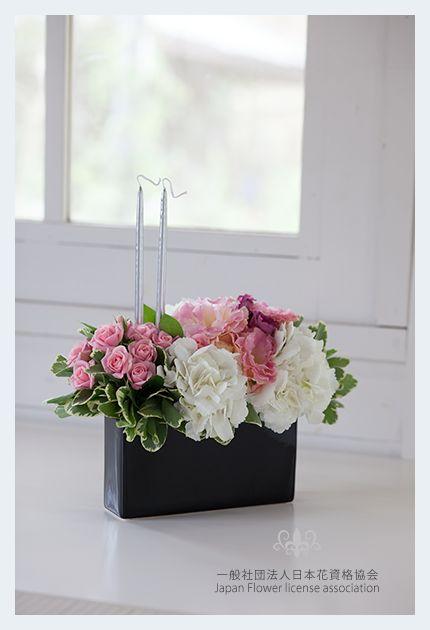 JFLA Fresh Flower Diploma Class.Fresh Flower Arrangement.Gift,Candle,Roses.JFLA認定資格のさらなる上の最終資格、JFLAフレッシュフラワー本部講師資格講師研究科クラスの作品です。
