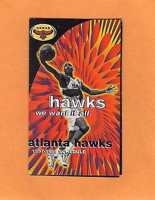 1997-98 NBA BASKETBALL ATLANTA HAWKS POCKET GAME SCHEDULE