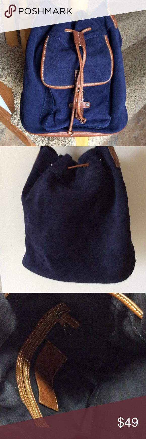 Lands End bag.  💙SALE💙 Beautiful navy suede with brown leather trim.  Very roomy crossbody bag.   Mesh and leather strap.  Front pocket with buckle closer.   Drawstring closet on bag.  Inside has two pouches and zip pocket.   Very clean.  EUC.  070404 Lands' End Bags Crossbody Bags