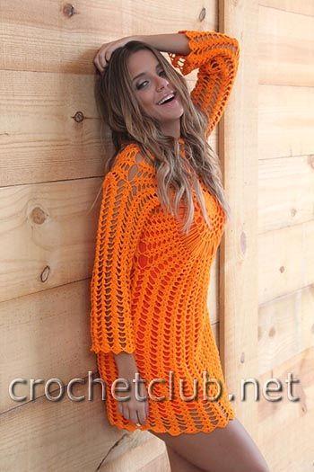 оранжевое платье крючком 2