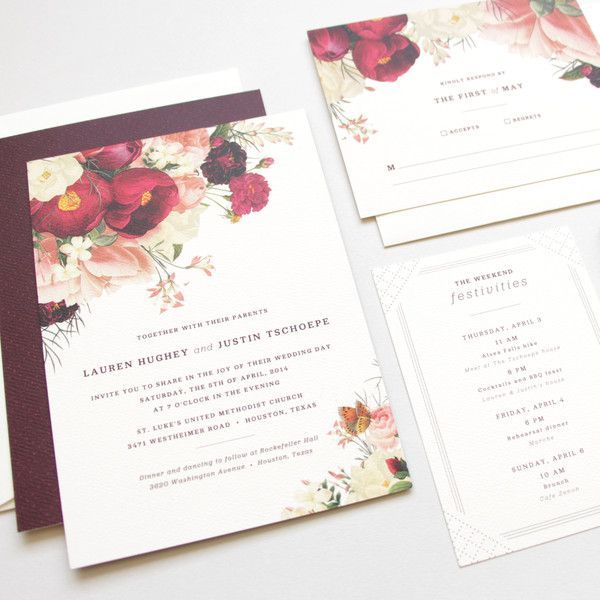 Stunning. Soft and romantic painterly floral invite on luxe textured cream paper. The burgundy and pale blush palette is perfect! Botanist Study Wedding Invitation Suite by Little Arrow: