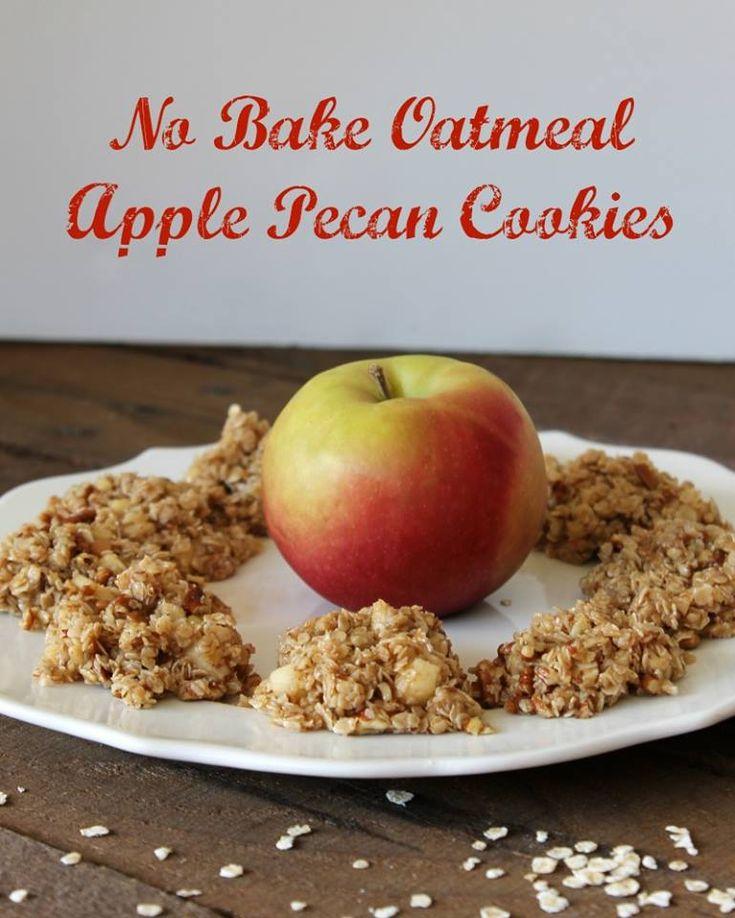 No Bake Oatmeal Apple Pecan Cookies