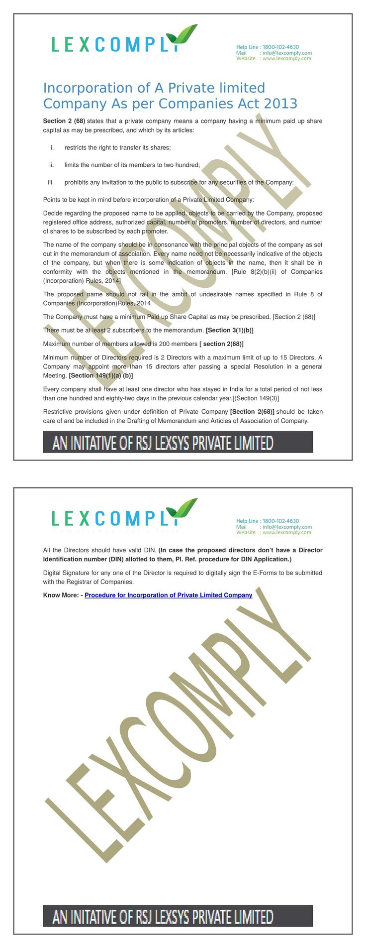 Incorporation of A Private limited Company As per Companies Act 2013 - https://lexcomply.com/Procedure-under-Companies-Act-2013.php?page=Incorporation-of-A-Private-Limited-Company&key=MzE=