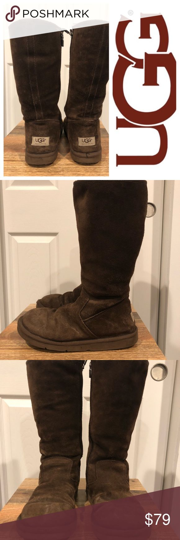 UGG Australia Dark Brown zip up Boots 7 Size 7. Worn a few times but in excellent preowned condition. ugg Shoes Combat & Moto Boots