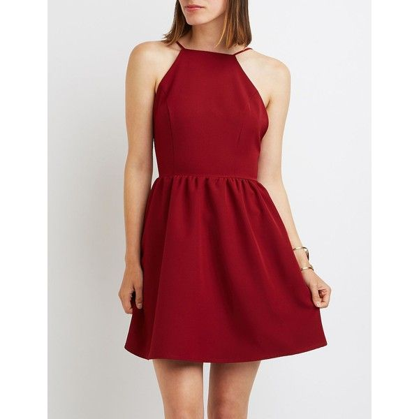 Charlotte Russe Bib Neck Backless Skater Dress ($30) ❤ liked on Polyvore featuring dresses, wine, open back skater dress, flared dresses, red skater dress, backless skater dress and a line dress