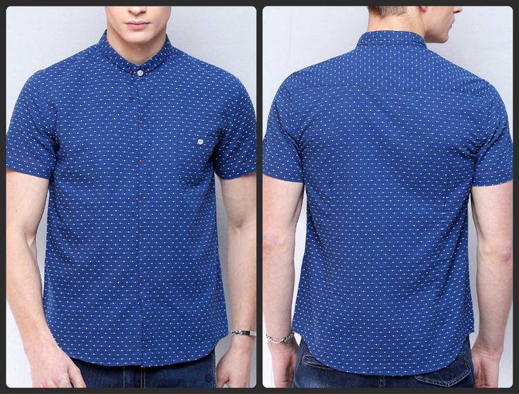 Xmas Sale!!! Stylish small collar short sleeves shirt (BLUE) $25.00