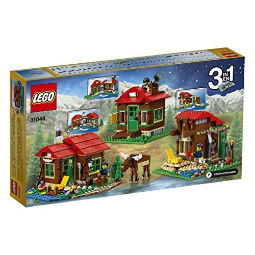 Features a Lakeside Lodge with stove bed, table, outdoor wall lamp, campfire, water lilies, wood-chopping area and a pine tree and includes a male minifigure, plus a buildable moose and a frog. Lakeside Lodge measures over 3″ (10cm) high, 6″ (16cm) wide and 6″ (16cm) deep. Observatory measures over 4″ (12cm) high, 5″ (13cm) wide and 4″ (12cm) deep. LEGO Creator Lakeside Lodge 31048 toys4mykids.com
