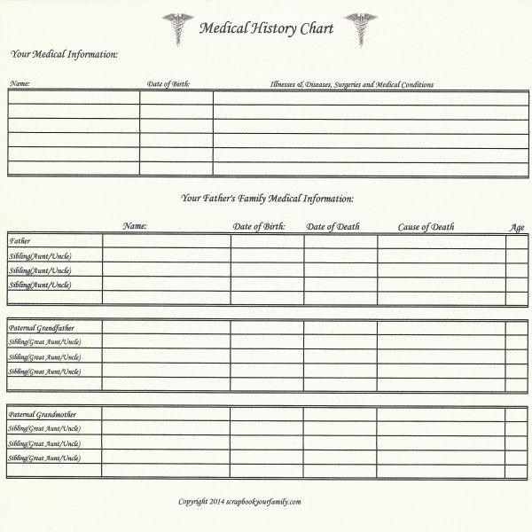 11 best Medical history geneology images on Pinterest Genealogy - medical history forms