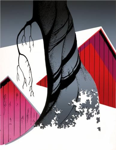 Red Barn and Grey Sky - Eyvind Earle