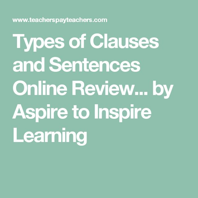 Types of Clauses and Sentences Online Review... by Aspire to Inspire Learning